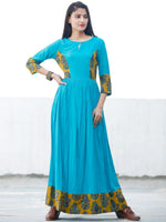 TEAL APPEAL - Hand Block Printed Long Cotton Dress - D347F1816
