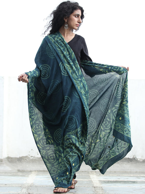 Deep Indigo Green Cotton Hand Block Printed Dupatta With Mirror Work   - D04170413