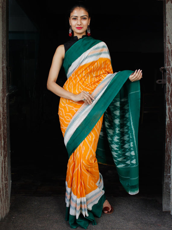 Orange Green White Ikat Handwoven Mercerised Cotton Saree - S031703627