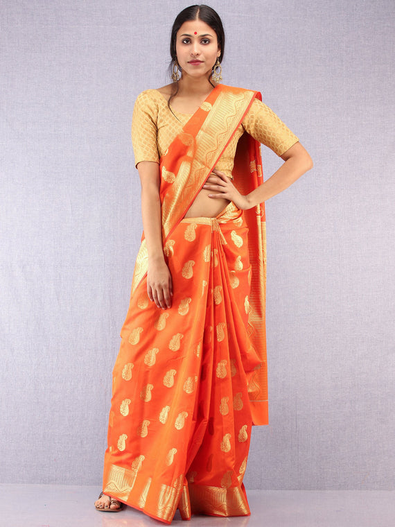 Banarasee Semi Silk Saree With Zari Work - Orange & Gold  - S031704371