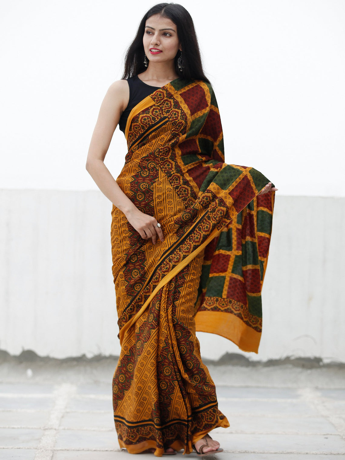 Gold Yellow Green Marooon Black Ajrakh Hand Block Printed Modal Silk Saree in Natural Colors - S031703711