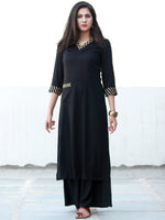 Black Golden Rayon Kurta With Gotta Work - K155FXXX