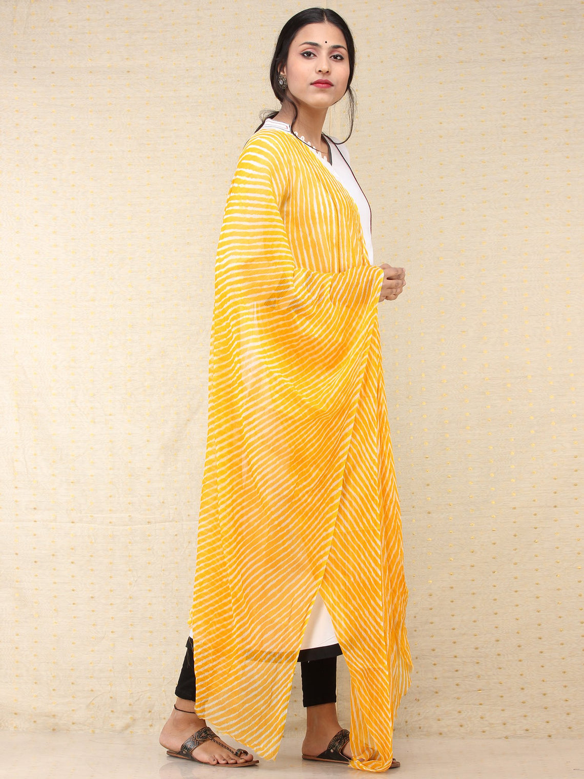 Yellow Off White Lehriya Georgette Hand Block Printed Dupatta  - D04170705
