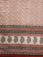 Maroon Beige Black Cotton Hand Block Printed Dupatta - D04170185