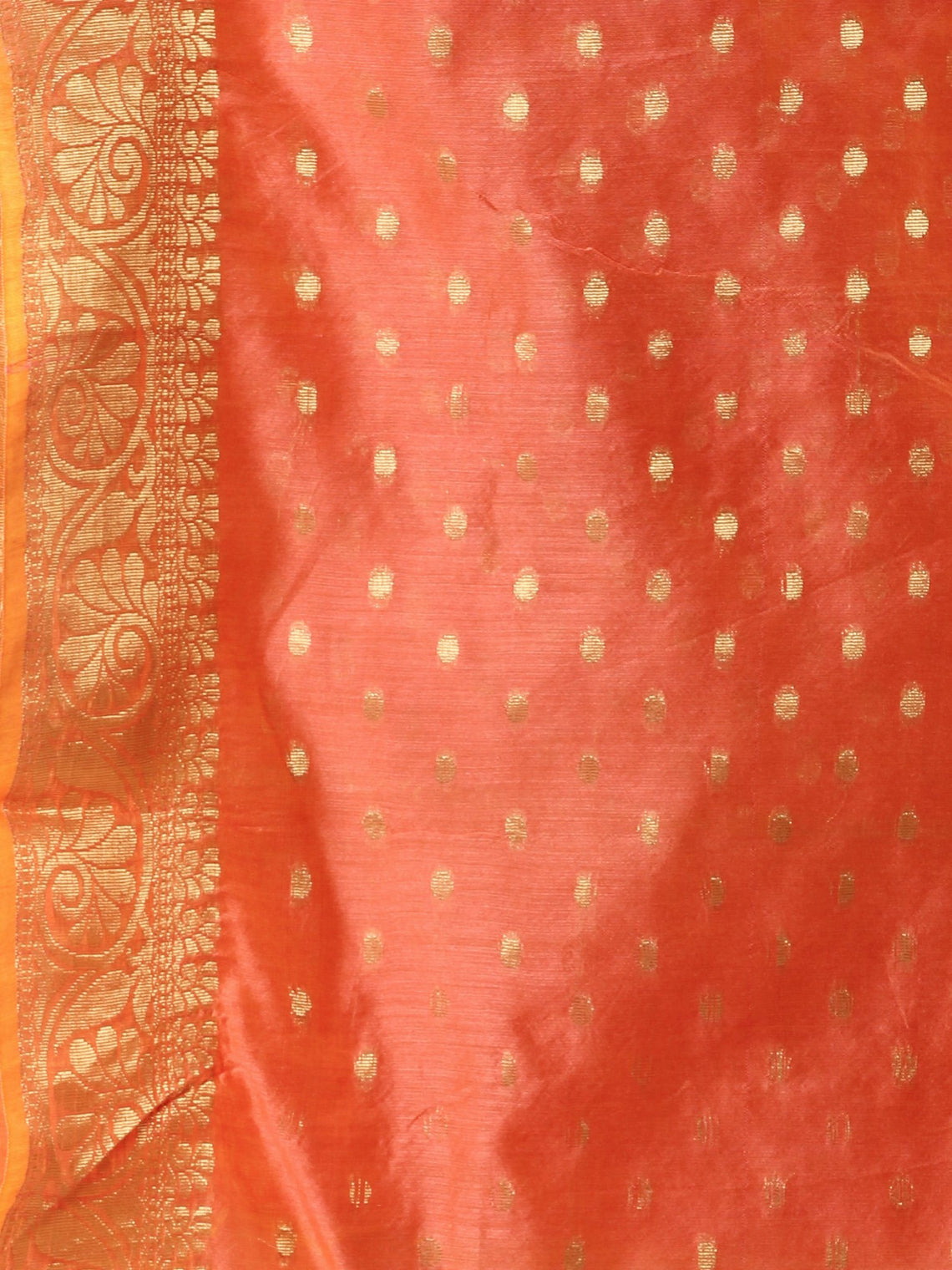 Banarasi Chanderi Dupatta With Zari Work - Peach & Gold - D04170808