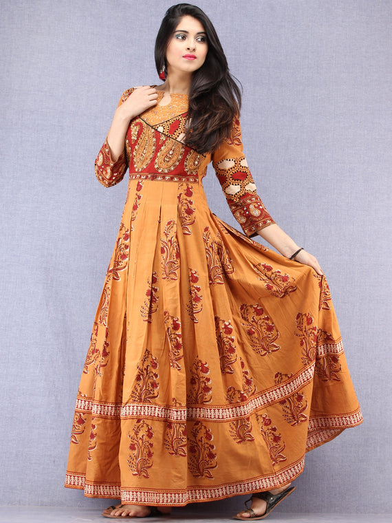 Pardeiza - Hand Block Mughal Printed Long Cotton Embroidered Angrakha Dress - DS100F001