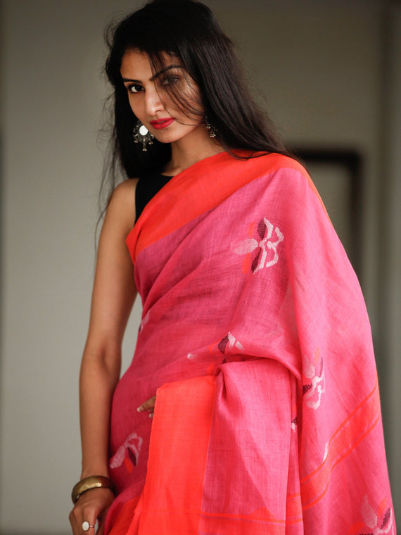 Pink Red Silver Handwoven Linen Jamdani Saree With Tassels - S031703790