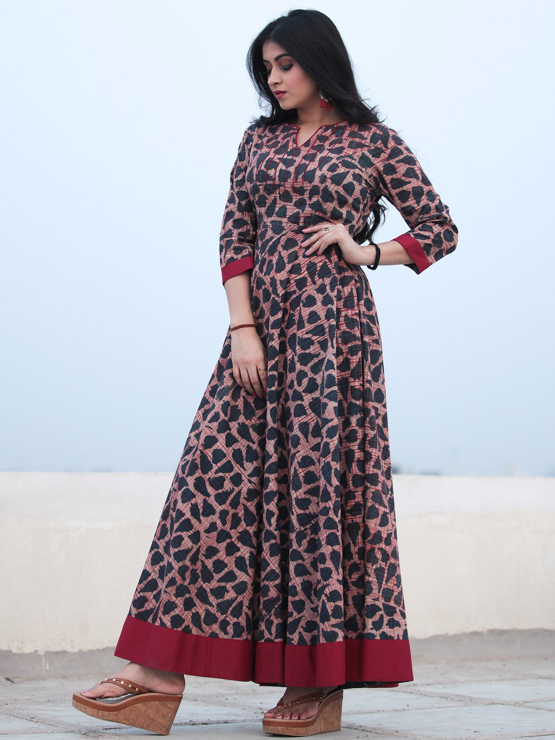 Indigo Maroon Hand Block Printed Embroidered YokeCotton Long Dress D466F1832