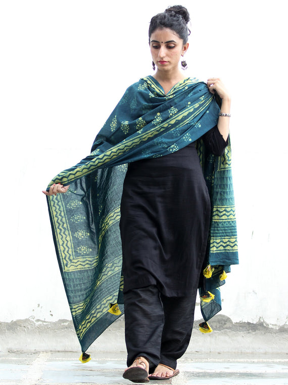 Deep Indigo Green Cotton Hand Block Printed Dupatta With Hand Made Tassels - D04170414