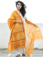 Yellow Ivory Red Chanderi Hand Block Printed Dupatta - D04170316