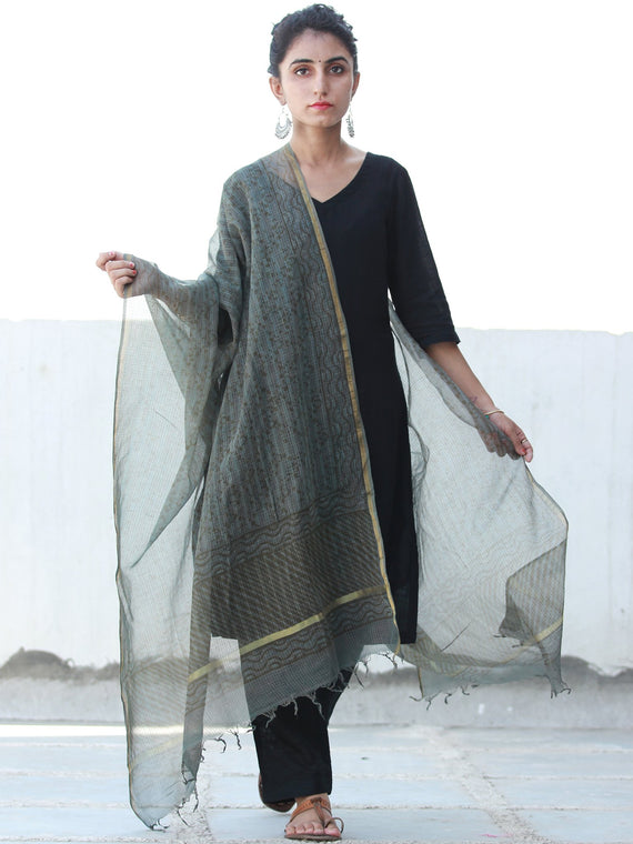 Charcoal Grey Black Kota Silk Hand Block Printed Dupatta - D04170465