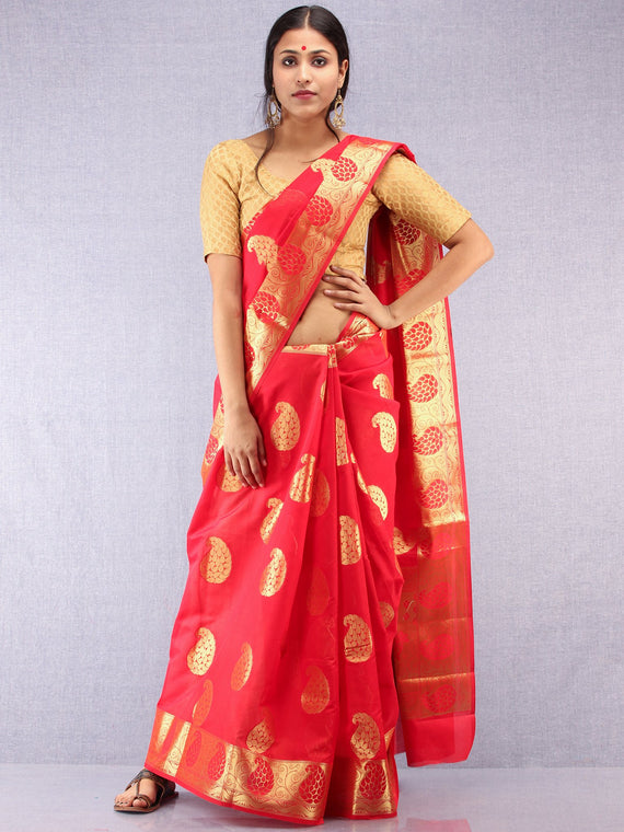 Banarasee Semi Silk Saree With Zari Work- Red & Gold - S031704373