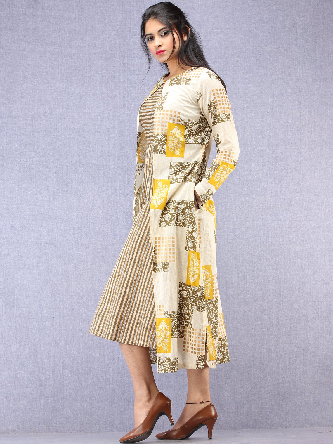 Nazan - Block Printed Cotton Middi Dress With Tunic & Cape - D393F2015