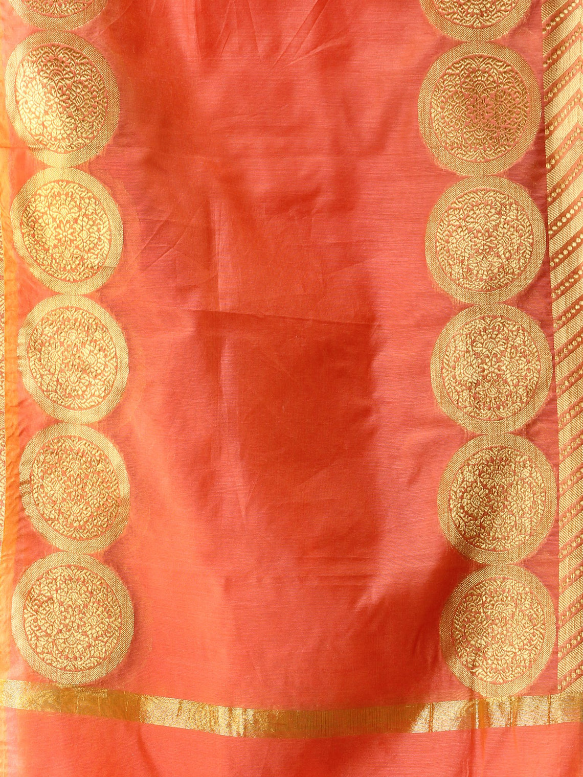 Banarasi Chanderi Dupatta With Resham Work - Peach & Gold - D04170809