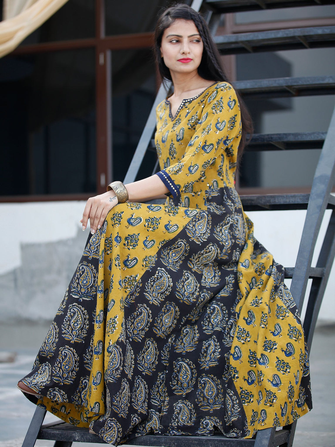 Classic Peacock - Hand Block Printed Long Cotton Sequence Work Dress  - D345F1809