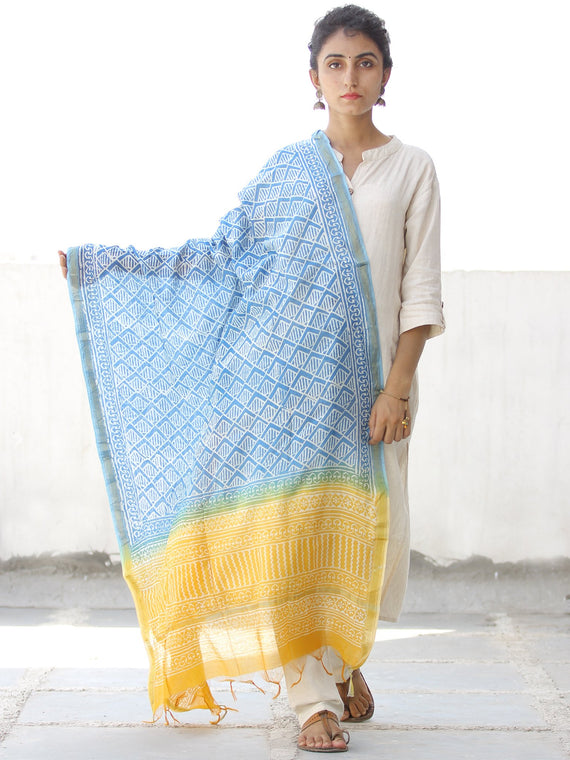 Sky Blue White Yellow Chanderi Hand Block Printed Dupatta - D04170556