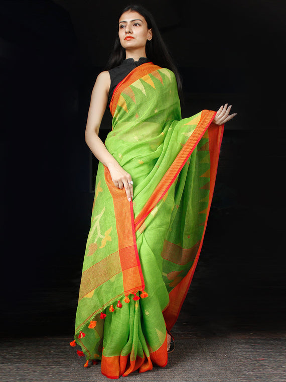 Green Orange Yellow Handwoven Linen Jamdani Saree With Temple Border - S031703460