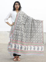 Black Indigo Green Rust Cotton Hand Block Printed Dupatta - D04170187