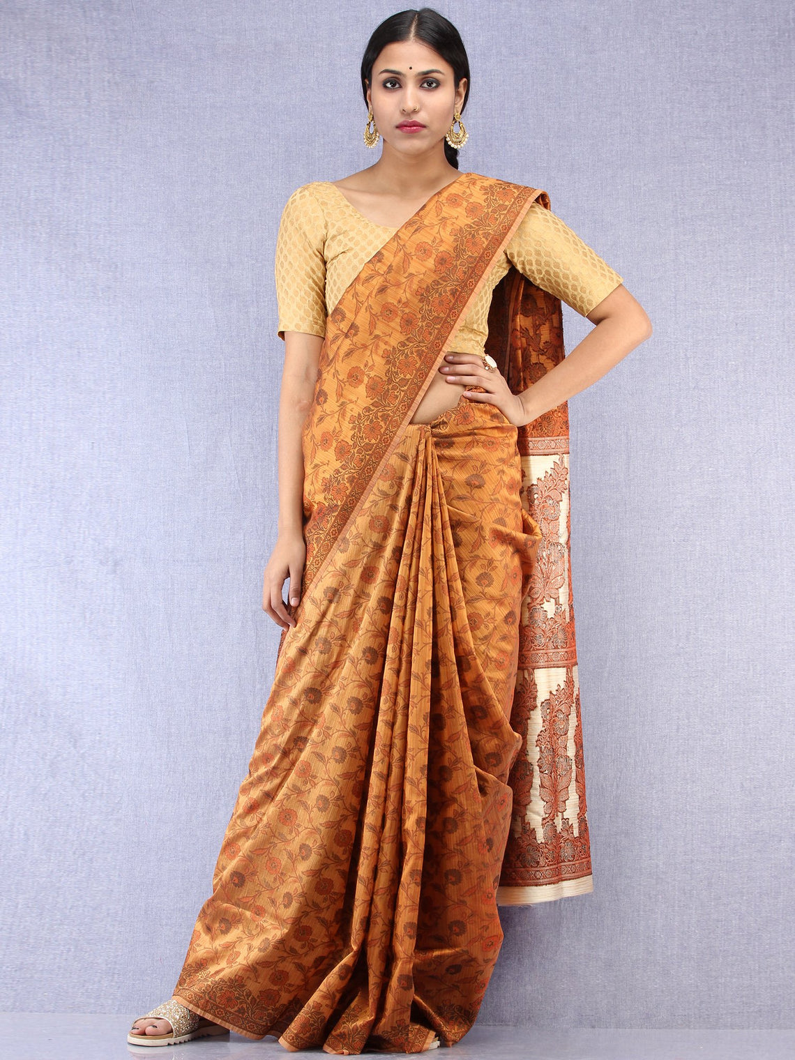 Banarasee Art Silk Saree With Resham Weaving Work - Mustard Yellow & Beige - S031704424