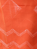 Orange White Shibori Kota Silk Hand Block Printed Dupatta - D04170648