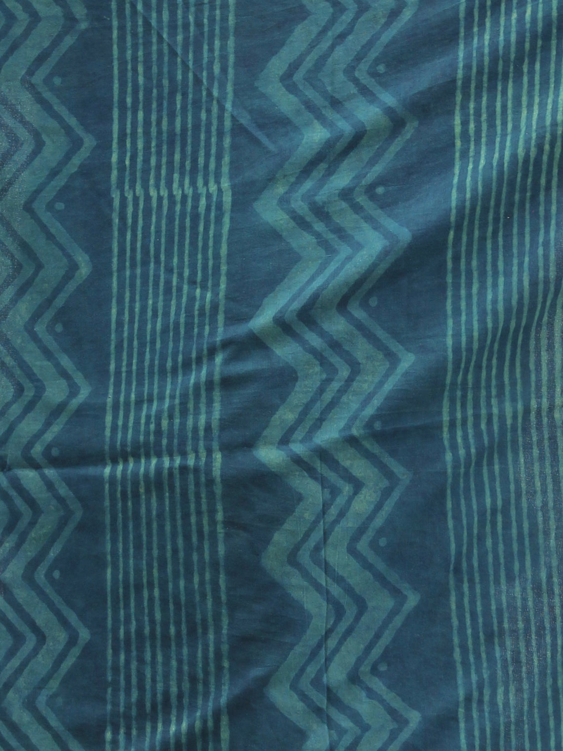 Deep Indigo Green Cotton Hand Block Printed Dupatta With Hand Made Tassels - D04170415