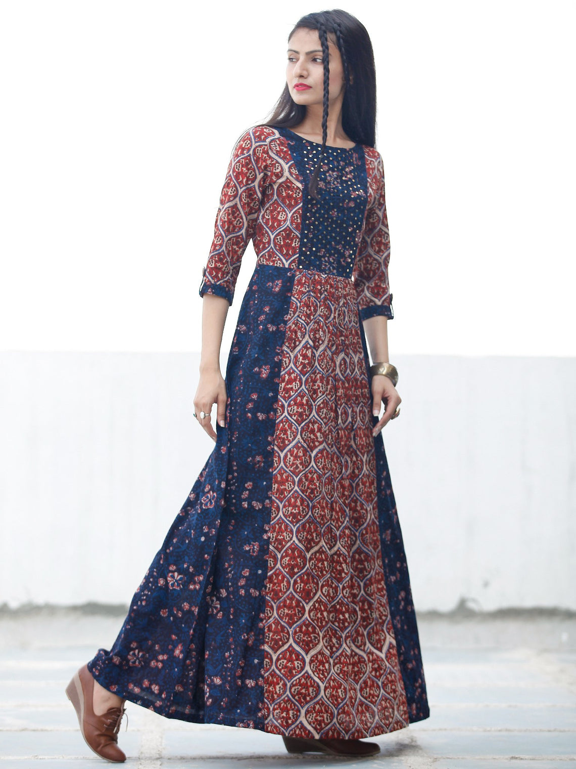 Block Sequence - Hand Block Printed Long Cotton Dress With Embroidery - D349F1807