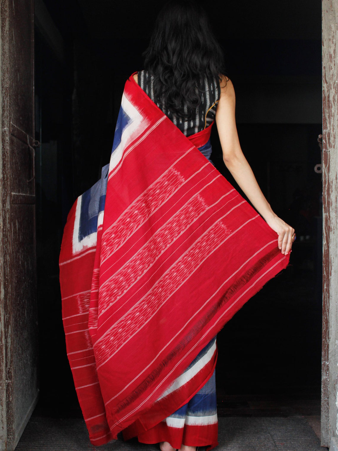 Blue White Red Double Ikat Handwoven Cotton Saree - S031703530