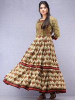 Mahreen - Hand Block Mughal Printed Long Cotton Embroidered Dress - DS107F001