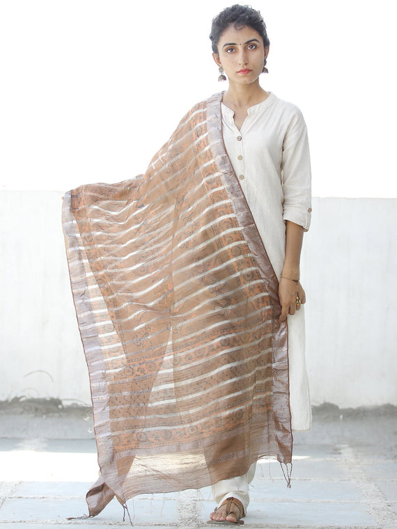 Light Brown Silver Cotton Silk Hand Block Printed Dupatta  - D04170557