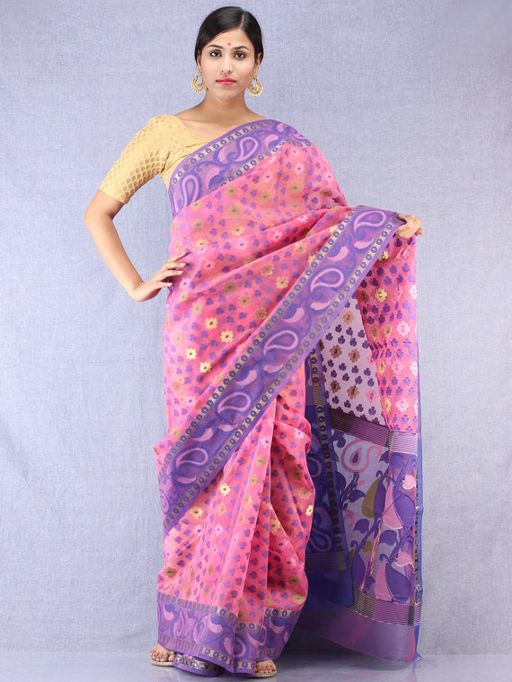 Banarasee Organza Saree With Zari & Resham Work - Pink Purple & Gold - S031704328