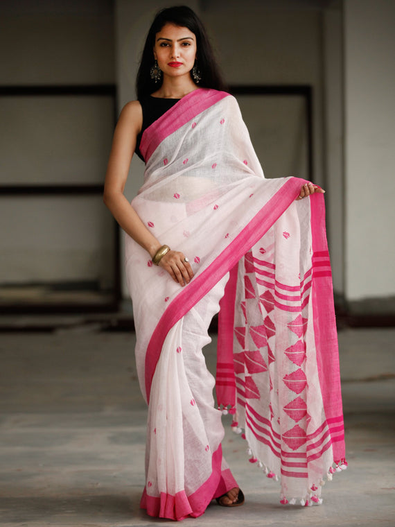 White Pink Handwoven Linen Jamdani Saree With Tassels - S031703793
