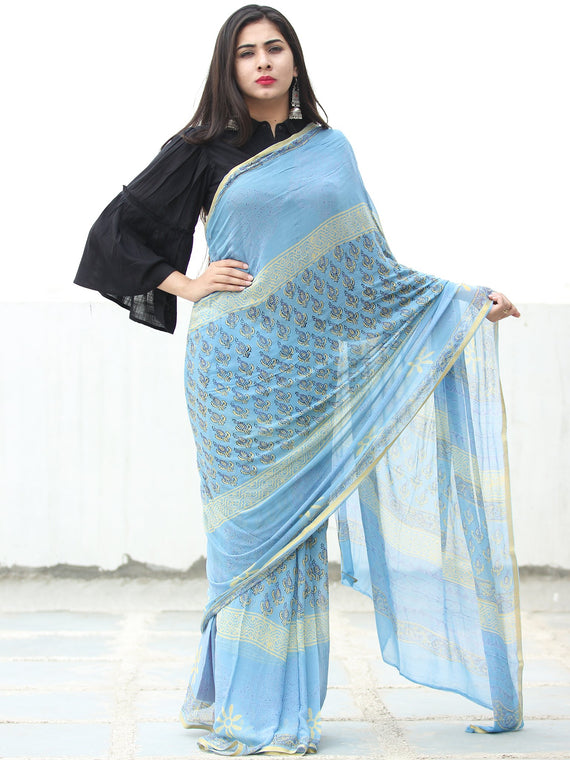 Sky Blue Yellow Hand Block Printed Chiffon Saree with Zari Border - S031703946