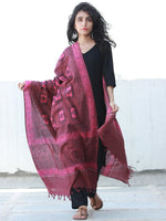 Crimson Red Pink Cotton Hand Block Printed Dupatta  - D04170467