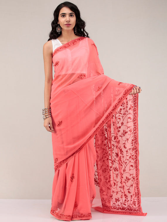 Pech Pink Aari Embroidered Georgette Saree From Kashmir - S031704644