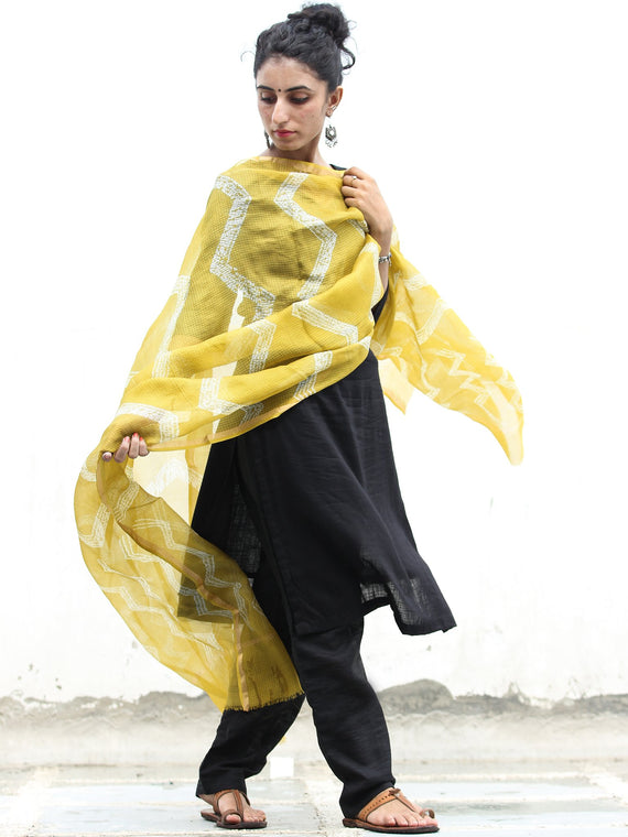 Yellow White Shibori Kota Silk Cotton Hand Block Printed Dupatta  - D04170416