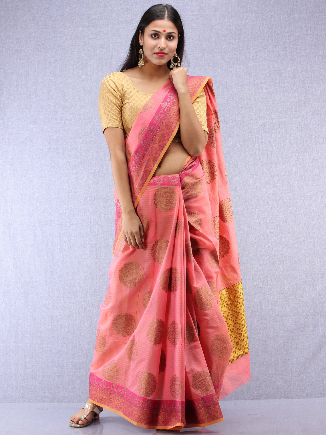 Banarasee Cotton Silk Saree With Zari Work - Pink Yellow & Gold - S031704421