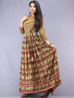 Naaz Kaneez - Hand Block Printed Long Cotton Angrakha Pleated Dress - DS94F001