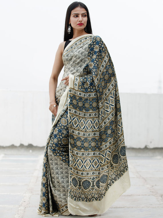 Off White Indigo Peanut Brown Ajrakh Hand Block Printed Modal Silk Saree in Natural Colors - S031703715