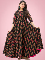Mahek - Black Pink Block Printed Urave Cut Long Dress With Tie Up Deep Back - D395FXXXX