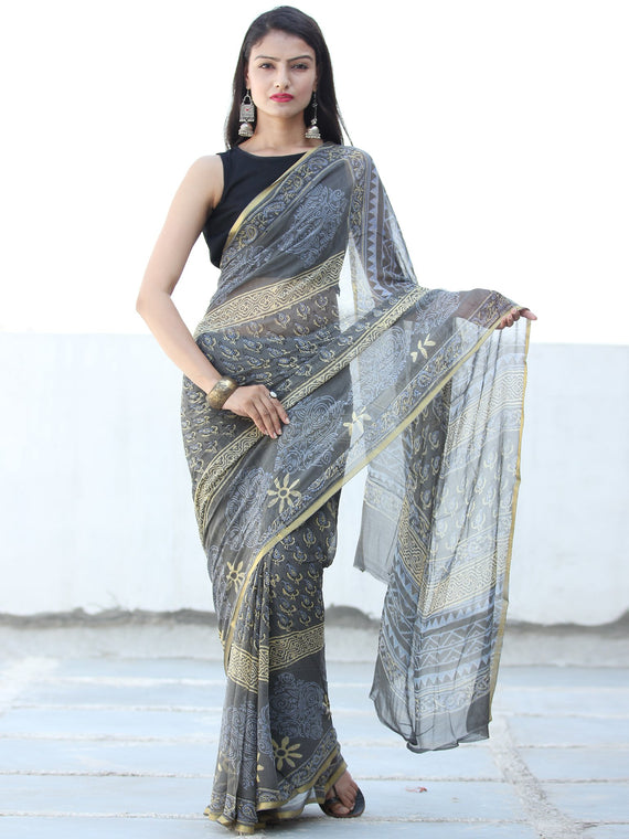Charcoal Grey Yellow Hand Block Printed Chiffon Saree with Zari Border - S031703933
