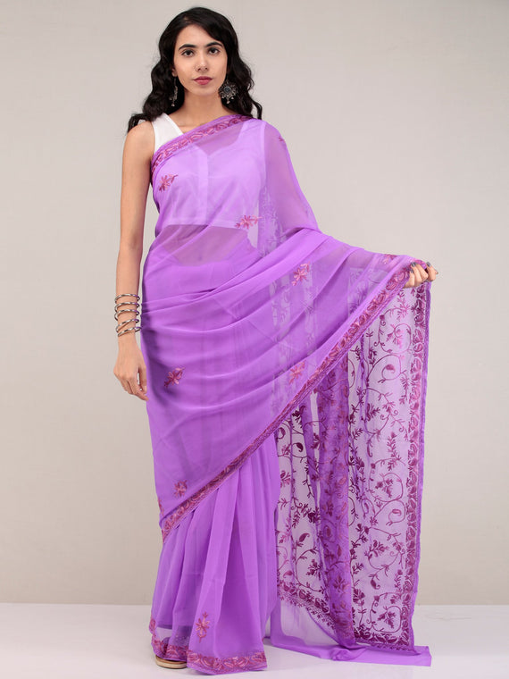Lavender Aari Embroidered Georgette Saree From Kashmir - S031704645