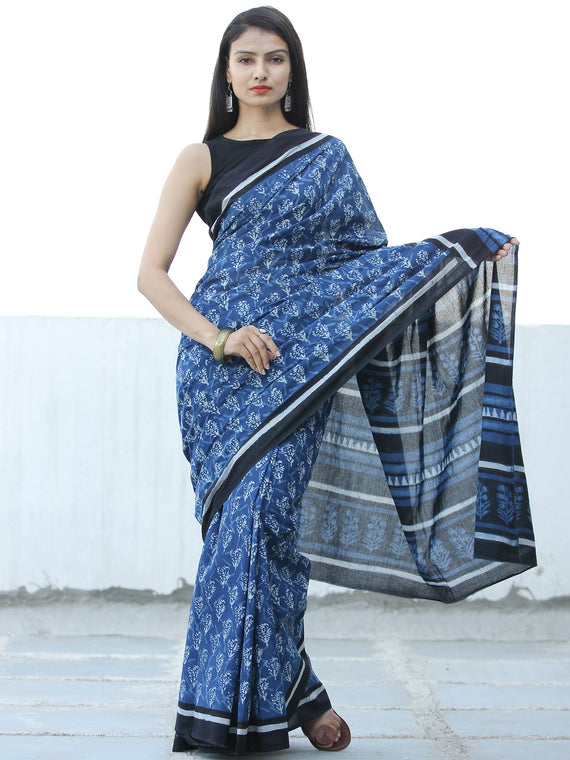 Indigo White Hand Block Printed  Cotton Mul Saree - S031703975