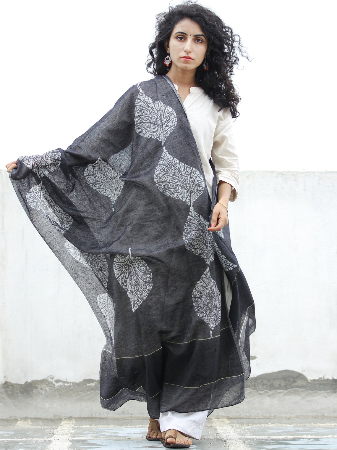 Black Grey Chanderi Hand Block Printed Dupatta - D04170319