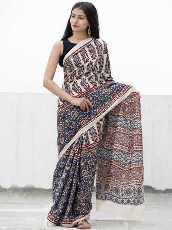 Off White Indigo Rust Ajrakh Hand Block Printed Modal Silk Saree in Natural Colors - S031703716