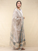Kashish White Teal Blue Kota Silk Hand Block Printed Dupatta - D04170708