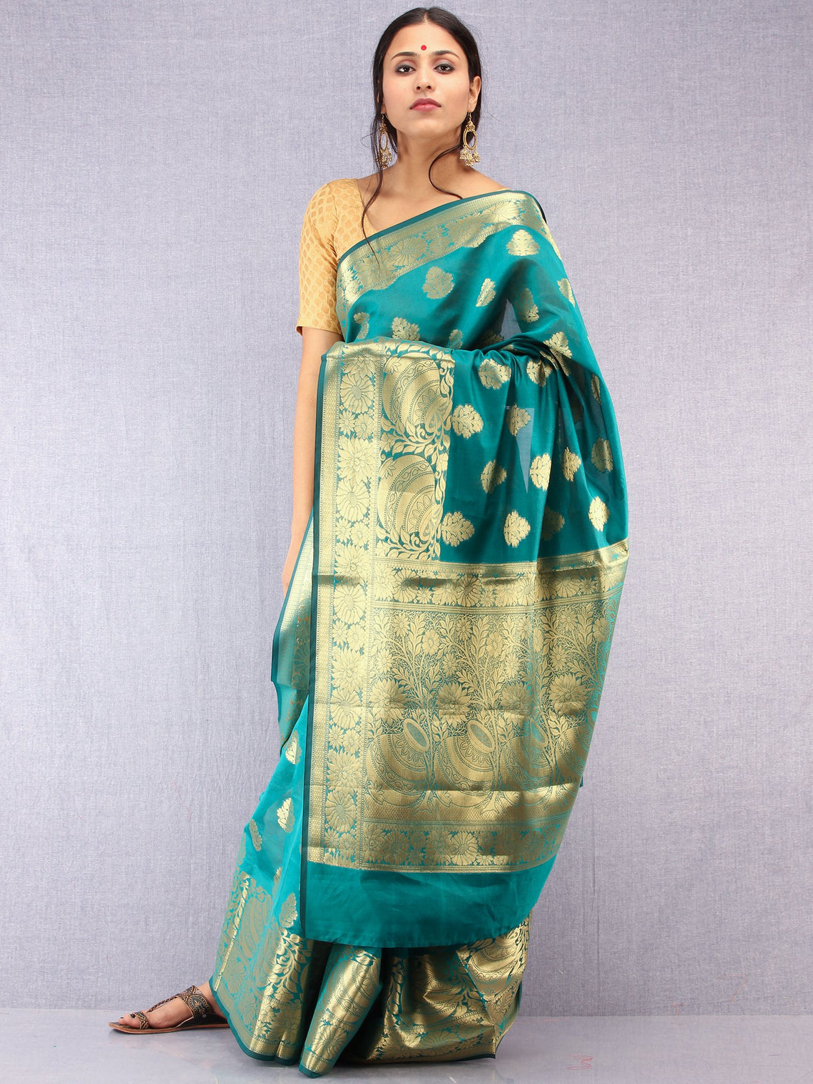 Banarasee Semi Silk Saree With Zari Work - Green &  Gold - S031704376
