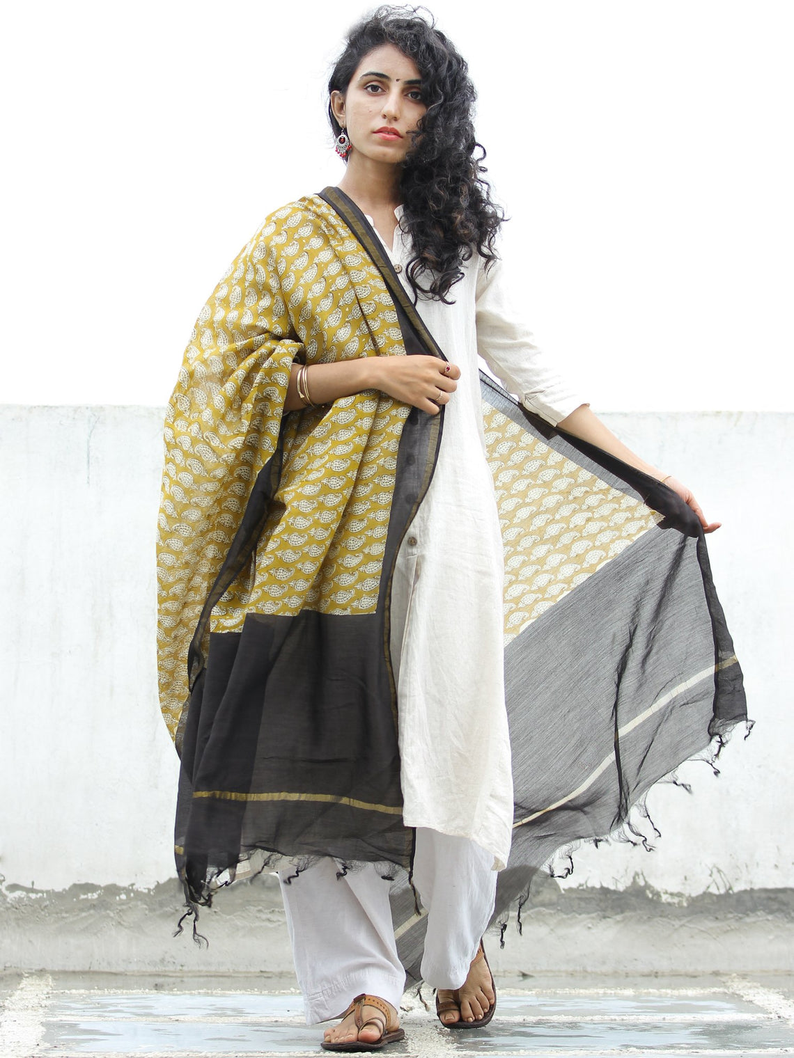 Mustard Yellow Black Chanderi Hand Block Printed Dupatta - D04170320