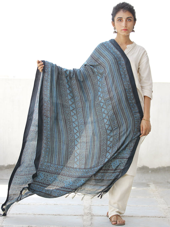 Teal Blue Black Grey Handloom Cotton Hand Block Printed Dupatta - D04170559