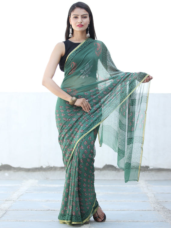 Green Coral Hand Block Printed Chiffon Saree with Zari Border - S031703934