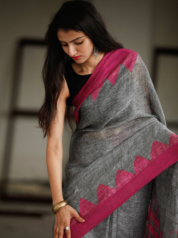Grey Pink Handwoven Linen Jamdani Saree With Tassels - S031703795